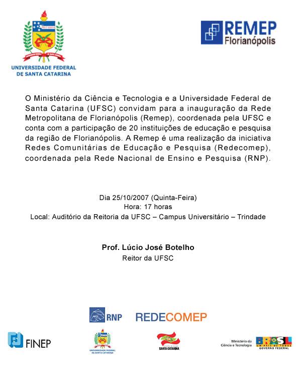 Convite Inauguração da REMEP-FLN
