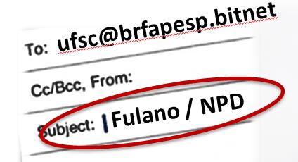 Formato de cabeçalho de mensagens de correio eletrônico via bitnet, com foco para o endereço compartilhado na FAPESP e o nome do destinatário adicionado ao Assunto da mensagem.